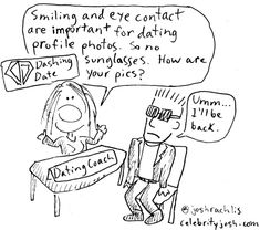Do you get the character I was drawing? Dashing Date didn't get it until I told them. 😎 In June, I drew dating tips comics for the company running the speed dating I attend, based on the tips they post on Instagram. They posted my comics in June. I'm just getting around to posting the comics now - I even use a different Instagram name now than I used for my signature then. It's like how I've been procrastinating on getting married. Sigh. Anyway, Dashing Dashing offers coaching, matchmaking… Funny Comic Strips, Instagram Names, Speed Dating, My Signature, Profile Photo, Dating Tips, Funny Comics, Getting Married, Coaching
