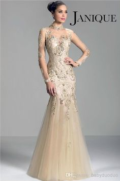 Janique W321 champagne 2014 long sleeve Mother of the Bride Dresses sheer high neck lace applique beads mermaid prom evening formal gowns