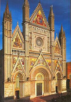 The Duomo of Orvieto Cathedral ~ Orvieto Italy, in the sunlight.                                                                                                                                                      More