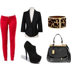 Red skinny jean, blazer and high heeled booties this outfit is simple and classy!
