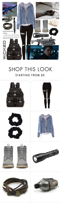 """""""The Death Cure"""" by slytherin-for-life ❤ liked on Polyvore featuring GET LOST, Prada, Topshop, Accessorize, Dr. Martens, MazeRunner, DeathCure, ScorchTrials, fevercode and KillOrder"""
