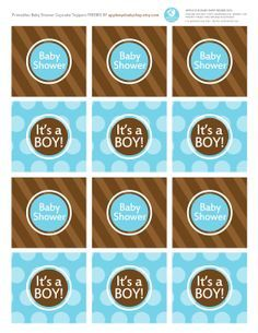 Baby Shower? Free Printables IT'S A BOY CUPCAKE TOPPERS Blue and Brown Polka Dots. Endless inspiration: DIY Crafts, Paper Goods, Silhouette or Cricut Projects, Mason Jar Tags, Decorative Detail, Baby Shower, Favor Tags, Treat/Dessert Tag, Candy Table Bar  and more. Enjoy! By #AppleEyeBabyShop