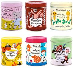 Tea tins from the Karel Capek tea shop in Japan, designed by owner Utako Yamada.