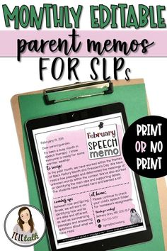 Monthly Editable Parent Memos for SLPs {Print or No Print} Speech Therapy Activities, Speech Language Pathology, Speech And Language, Articulation Activities, Letter To Parents, Parents As Teachers, Parent Letters, Parent Communication, Speech Room