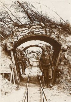 French soldiers guard a captured German narrow-gauge rail line in Brussels in 1916.