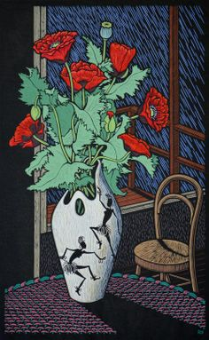 """Poppy Still Life"" - by Rachel Newling ~ Linocut on handmade Japanese paper"