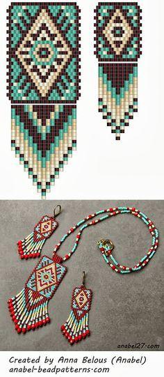 Native American style peyote pattern for earrings pendant - Bead weaving scheme mosaic pendant earrings Anabel