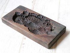 Japanese Antique Kashigata Kiku Mom Flower Hand Carved Wooden Cake Mold   eBay