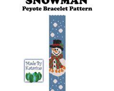 Peyote Pattern - Snowman - INSTANT DOWNLOAD PDF - Peyote Stitch Bracelet Pattern