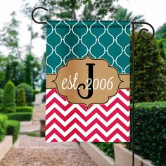 Personalized Garden Flag, Est. Garden Flag, Monogram Garden Flag, Custom Flag, Garden Sign, Wedding Gift, Housewarming Gift, Est. House Flag by Silverngeauxld on Etsy https://www.etsy.com/listing/477976635/personalized-garden-flag-est-garden-flag