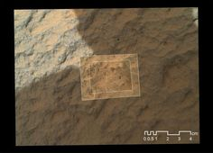 "This image combines photographs taken by the Mars Hand Lens Imager (MAHLI) at three different distances from the first Martian rock that NASA's Curiosity rover touched with its arm. The three exposures were taken during the 47th Martian day, or sol, of Curiosity's work on Mars (Sept. 23, 2012). The team has named the target rock ""Jake Matijevic."" The scale bar is 4 centimeters (1.6 inches)."