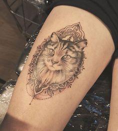 Button cat tattoo