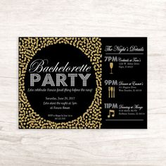 Gold and Black Bachelorette Party Invitation by LilygramDesigns