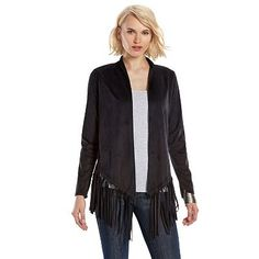 Rock & Republic® Fringed Faux-Suede Jacket - Women's