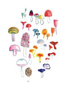 Mushrooms by Miss Capricho- I love mushrooms, there so cute!