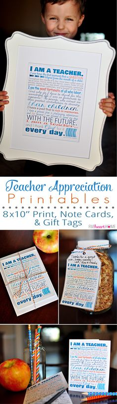 "Teacher Appreciation Free Printables ~ 8x10"" print, note cards, and gift tags 