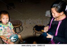The Lanten Yao women pluck out their eyebrows hair. - Stock Image