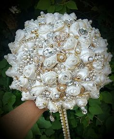 Items similar to IVORY AND GOLD Jeweled Bouquet- Deposit for a Custom Made Jeweled brides Bouquet, Gold Bouquet, Custom Jeweled Bouquet, brooch Bouquet on Etsy GATSBY STYLE Jeweled Bridal Bouquet by Elegantweddingdecor Vintage Bridal Bouquet, Wedding Brooch Bouquets, Bride Bouquets, Bridal Flowers, Bouquet Bling, Etsy, Gatsby Style, Wedding Ideas, Trendy Wedding