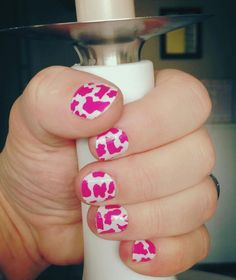 Hot Pink Cow from White Nails, Pink Nails, Cow Nails, Cow Gifts, Nail Art Photos, Pink Cow, Jamberry Nail Wraps, Pink Design, Gorgeous Nails