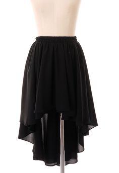 Black Hi-Lo Asymmetric Waterfall Skirt @ Chic Wish $40