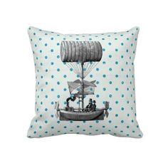 Vintage Airship on Polka Dots Pillow #steampunk