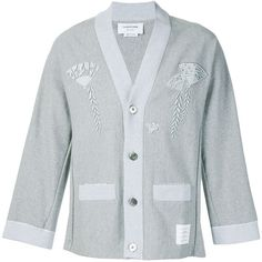 Thom Browne Embroidered Kimono Cardigan ($1,150) ❤ liked on Polyvore featuring men's fashion, men's clothing, men's sweaters, grey, mens grey sweater, mens cardigan sweater, mens cotton cardigan sweaters, mens v neck sweater and mens v neck cardigan sweater