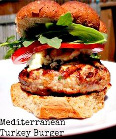 Check out this Grilled Mediterranean Turkey Burger #recipe for your next #BBQ!