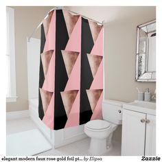 Elegant Modern Faux Rose Gold Foil Pink Geometric Shower Curtain