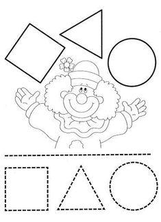 fichas de FIGURAS GEOMETRICAS Preschool Circus, Circus Activities, Circus Crafts, Preschool Activities, Clown Crafts, Shapes Worksheets, Preschool Learning, Kindergarten Worksheets, Preschool Crafts