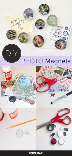Make these magnets from photos and greeting cards using bottle caps as the base! So many possibilities!