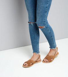 Tan Suede Cross Strap Sandals | New Look