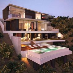 Modern architecture house design with minimalist style and luxury exterior and interior and using the perfect lighting style is inspiration for villas mansions penthouses Modern Architecture House, Modern House Design, Amazing Architecture, Architecture Design, Contemporary Design, Villa Design, Design Art, Hillside House, Design Exterior