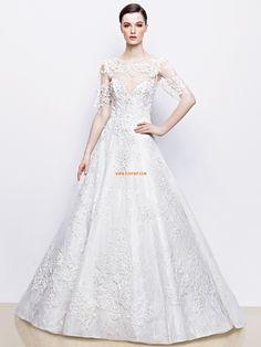 Lodičkový výstřih Polodlouhé rukávy Nášivky Svatební šaty 2014