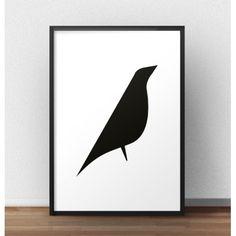 Jeżeli szukasz czegoś prostego, ale również nowoczesnego wybierz ten plakat przedstawiający grafikę z czarnym ptakiem.