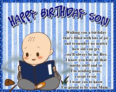 A cute card for a son who will always be your baby boy no matter what his age. Free online Son, You'll Always Be My Baby Boy ecards on Birthday Birthday Hug, Birthday Wishes Funny, Birthday Songs, Very Happy Birthday, Birthday Cards, Be My Baby, Baby Boy, Happy Panda, Colorful Birthday