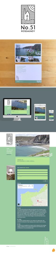 Branding, responsive web design and A6 flyer that Pickle Design created for self-catering holiday cottage in St. Agnes, Cornwall - No.51 Rosemundy.