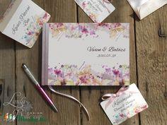 Esküvői Emlékkönyv, Virágos könyv, Rózsa, Virág, Esküvői vendégkönyv, rózsaszín, Party, Esküvő, Naptár, képeslap, album, Meghívó, ültetőkártya, köszönőajándék, Esküvői dekoráció, Meska