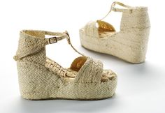1946, Italy, United Kingdom or France - Pair of platform sandals - Plaited straw, rubber, linen