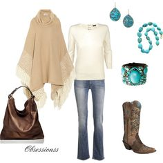 "creams, tans and turquoise....""Western Touch"" by obsessionss on Polyvore"