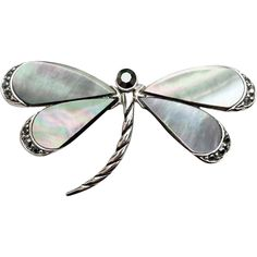 Lovely Dragon Fly Brooch Abalone Shell Rhinestones
