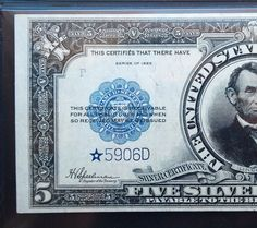 1923 STAR Rare 5 Porthole Silver certificate Lincoln Bank note PMG 30 national currency US paper money bill. $4,995.00, via Etsy.