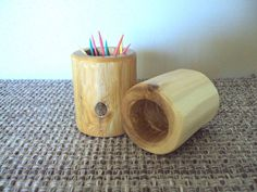 Log Tooth Pick Holder  Cedar Furniture Rustic Cabin by LogArtistry