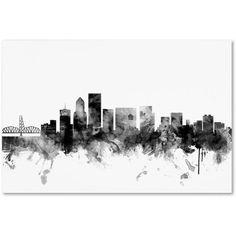 Trademark Fine Art Portland Oregon Skyline B Canvas Art by Michael Tompsett, Size: 12 x 19, Gray