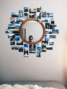 Cute Bedroom Decor, Room Design Bedroom, Room Ideas Bedroom, Mirror Wall Collage, Bedroom Wall Collage, Cute Room Ideas, Picture Collages, Heart Picture Collage, Aesthetic Room Decor