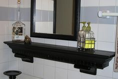 A hollow shelf to cover old ceramic tile toothbrush holders and soap dishes- I'm definitely going to do this!