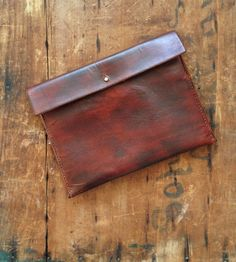 Straight Edge Leather Clutch Bag