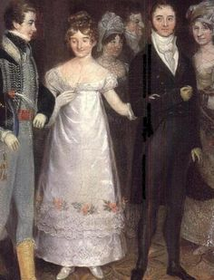 Rolinda Sharple's painting of the Cloakroom at Clifton shows a number of dresses with vandyke points. This one demonstrates several rows of lace with scalloped edges, and sharp-edged embroidery patterns.