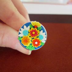 colorful ring,floral ring,cameo ring,ready to ship jewelry,spring ring,polymer clay ring,retro ring,artisan ring,filigree flower,romantic