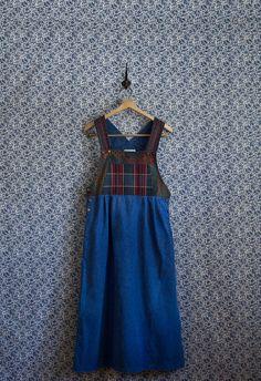 Flannel Overall Vintage Dress. $44.00, via Etsy.