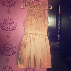 Mustard Seed tan Lace dress Dress is tan. Top part is lace design as pictured. Has some plumping under the skirt to create a lifted look. Top fits perfect and it's a zippered back. Worn once. Mustard Seed Dresses Midi